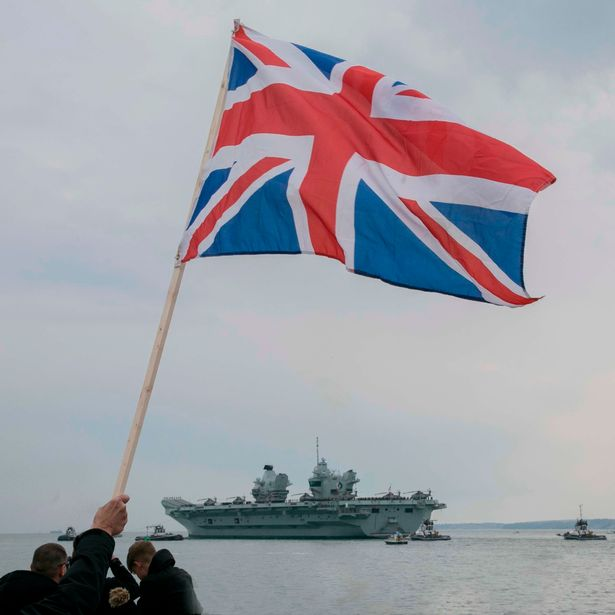 The UK's £3 billion aircraft carrier leaves her home port of Portsmouth on her first deployment which will take in India, Japan, South Korea and Singapore as a part of UK carrier strike group.