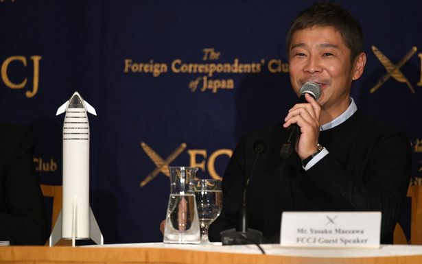 Yusaku Maezawa, entrepreneur and CEO of ZOZOTOWN and SpaceX BFR's first private passenger, speaks during a press conference at the Foreign Correspondents' Club of Japan in Tokyo on October 9, 2018. - It was confirmed in September that Maezawa will be the first man to fly around the moon on a SpaceX rocket as early as 2023. (Photo by Toshifumi KITAMURA / AFP) (Photo credit should read TOSHIFUMI KITAMURA/AFP via Getty Images)