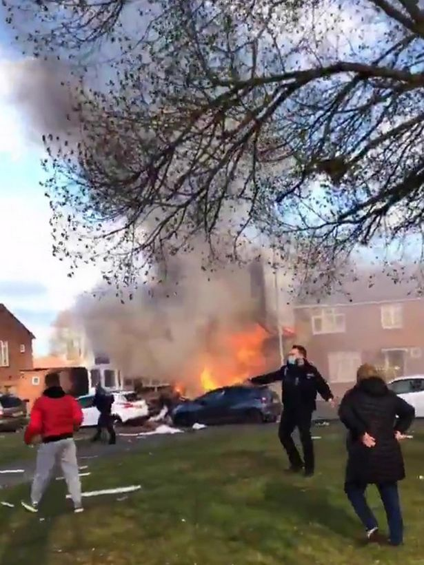 A house burns after a report of an explosion in Ashford, Kent