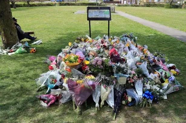 Flowers left in memory