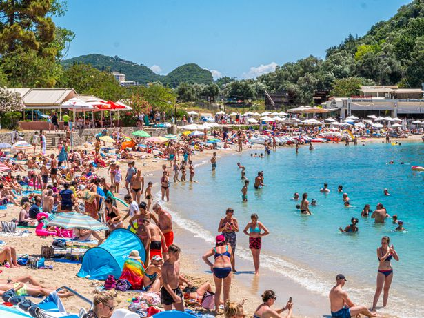 A crowded beach in Paleokastrttsa, Corfu