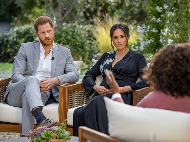Prince Harry and Meghan, Duchess of Sussex, are interviewed by Oprah Winfrey