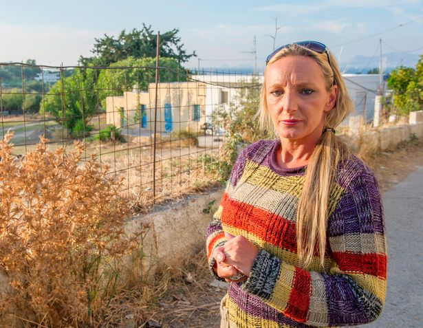 Mother Kerry Needham at the farmhouse on Kos where the latest search is concentrated