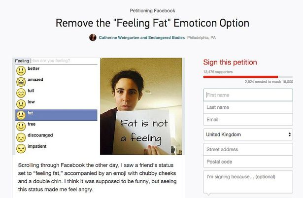 Ban The Feeling Fat Emoji From Facebook Demand Users Who Are