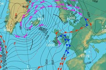 HD Decor Images » UK weather   Storm Abigail  threatens 17ft waves  70mph gales and     Forecast  The pressure map shows a cold front coming in over the weekend   Image  Met Office