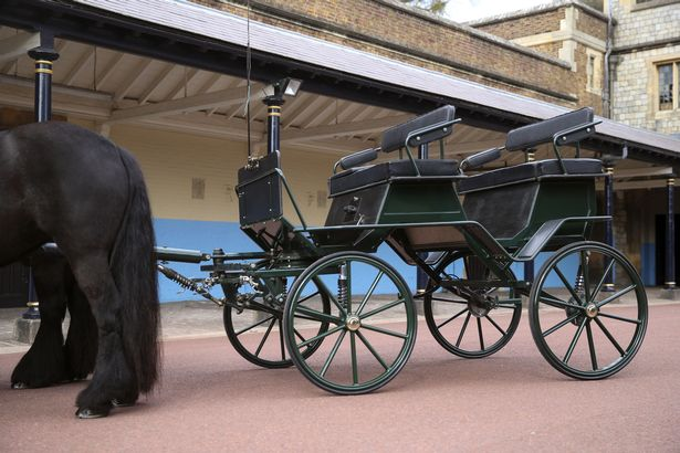 The Duke of Edinburgh's driving carriage and his two Fell ponies, Balmoral Nevis and Notlaw Storm, pictured at Windsor Castle