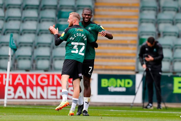 Argyle striker Frank Nouble celebrates after scoring with a 41st minute header in the League One game against Northampton Town at Home Park on Saturday, October 17, 2020 - Photo: Dave Rowntree/PPAUK