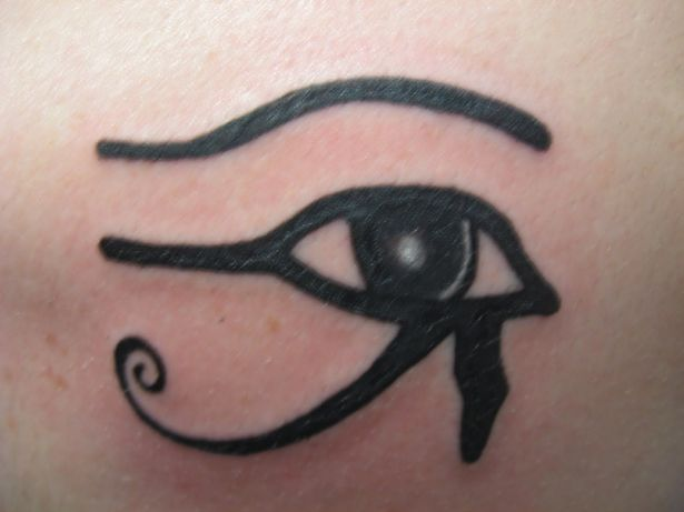 The Eye of the Horus tattoo similar to the one worn by cult members