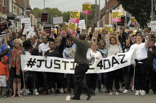 The march and rally for Darren Cumberbatch in Nuneaton on Edward Street