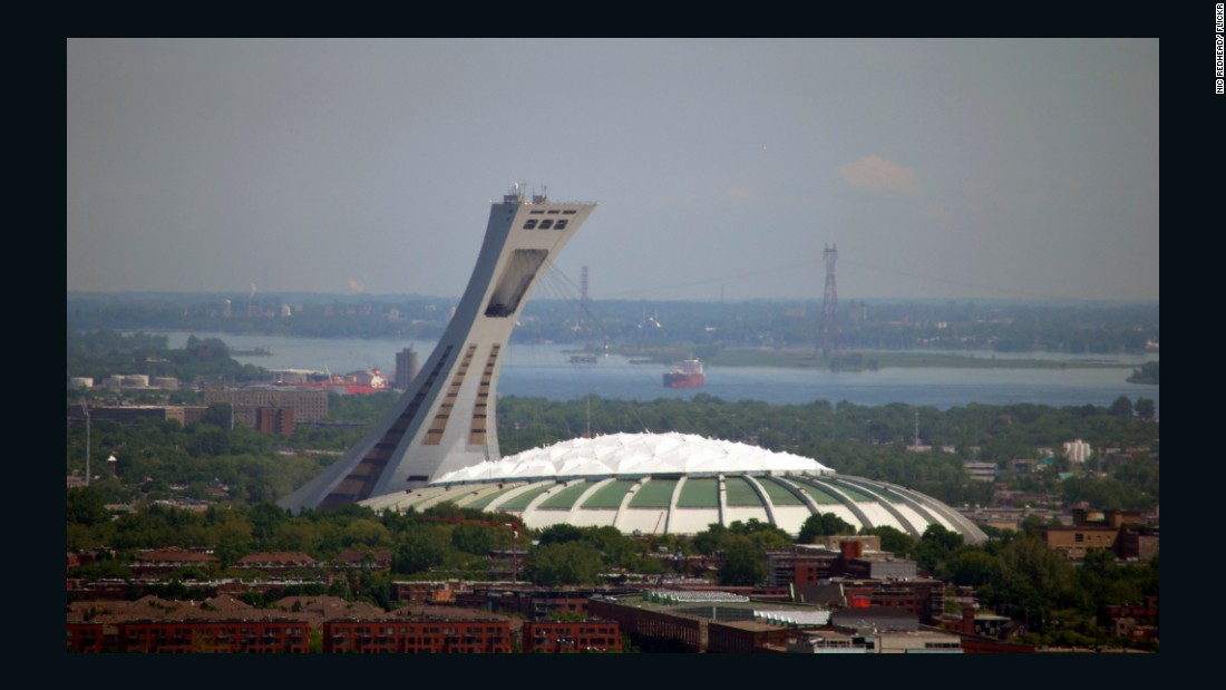 "Montreal's landmark Olympic Stadium is known for the world's tallest leaning tower (175 meters). It was designed by French architect <a href=""http://www.agencetaillibert.com/"" target=""_blank"">Roger Taillibert</a>."