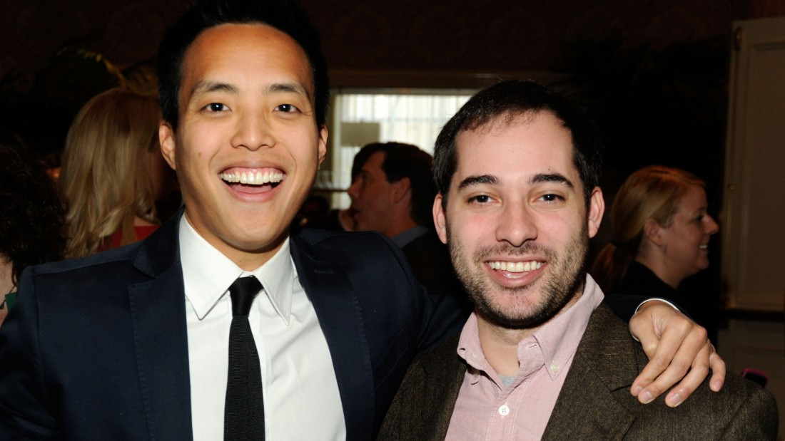 File photo: 'Parks and Recreation' executive producer Harris Wittels (right), pictured with screenwriter Alan Yang (left) in 2012, has died of a possible overdose, police said Thursday.