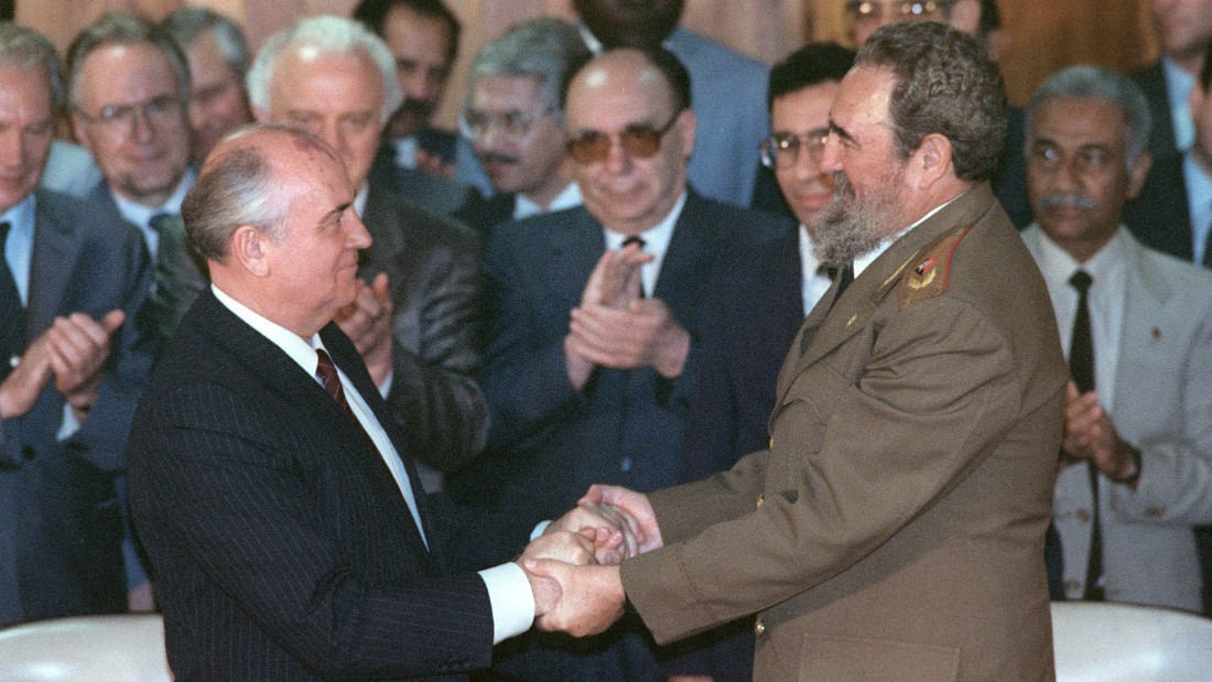 Castro greets Soviet leader Mikhail Gorbachev in Havana in April 1989.