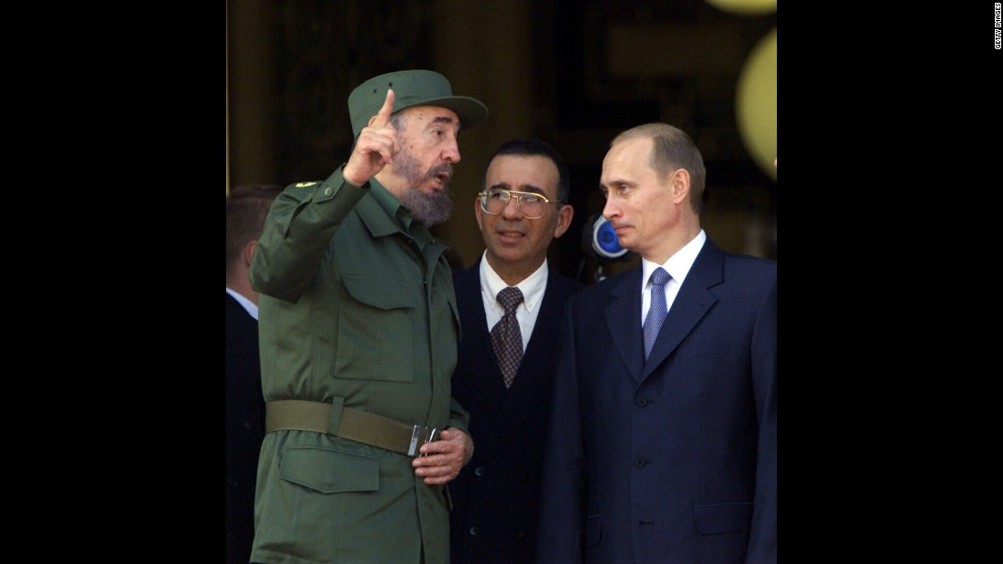 Castro welcomes Russian President Vladimir Putin to Cuba in December 2000. Putin was the first Russian President to visit Cuba since the fall of the Berlin Wall.