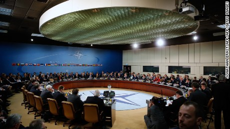 NATO foreign ministers gather for the session to formally admit Montenegro during ministerial meetings at the NATO Headquarters in Brussels on December 2, 2015. NATO foreign ministers invited Montenegro to join the US-led military alliance, a move Russia has repeatedly warned would be a provocation and a threat to stability in the western Balkans. / AFP / POOL / JONATHAN ERNST        (Photo credit should read JONATHAN ERNST/AFP/Getty Images)