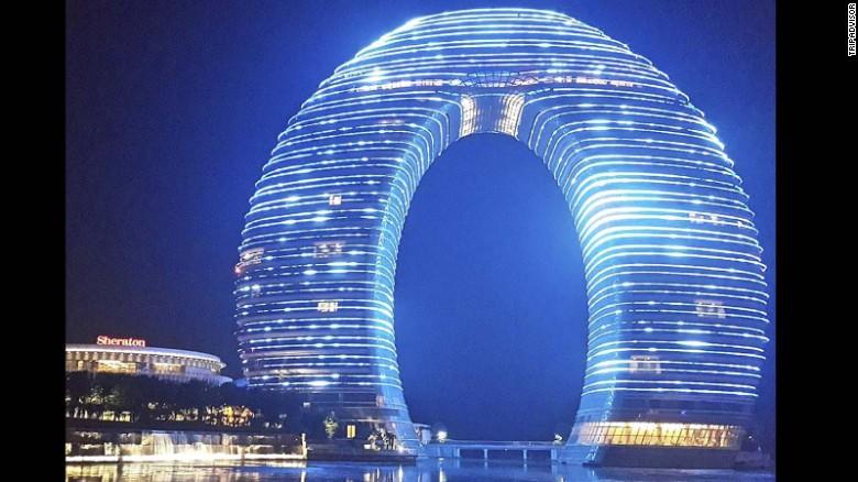 """An underwater bridge connects the <a href=""""http://www.tripadvisor.com/Hotel_Review-g659301-d3628010-Reviews-Sheraton_Huzhou_Hot_Spring_Resort-Huzhou_Zhejiang.html"""" target=""""_blank"""">Sheraton Huzhou Hot Spring Resort's</a> two towers."""