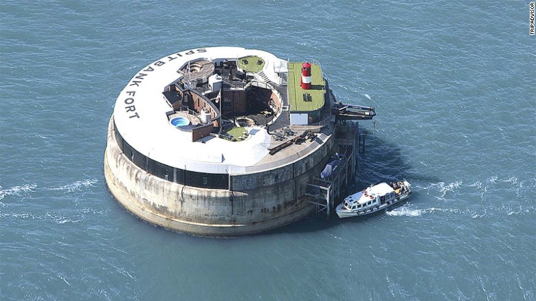 "This hotel has been transformed from a gun emplacement into a <a href=""http://www.tripadvisor.com/Hotel_Review-g186298-d3410738-Reviews-Spitbank_Fort-Portsmouth_Hampshire_England.html"" target=""_blank"">luxurious private island</a> fitted with a rooftop heated pool, sauna and fire pit."