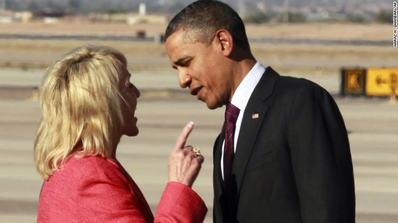 Then-Arizona Gov. Jan Brewer confronts President Obama in 2012 at a Phoenix airport -- one of several incidents that led to talk that he was being treated with less respect than his predecessors because of race. Brewer, a Republican, said Obama chided her for a book she had written; the president's defenders said her finger-wagging evoked the Jim Crow era, when whites addressed black men like they were boys.