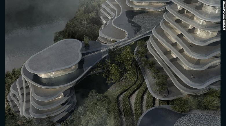 Emulando l'area & # 39; s ondulate colline e piantagioni di tè più livelli, i bassi edifici raggiungere i 200 piedi e saranno utilizzati per un mix di fini pubblici e privati, compresi gli spazi eventi, un hotel, e abitazioni.