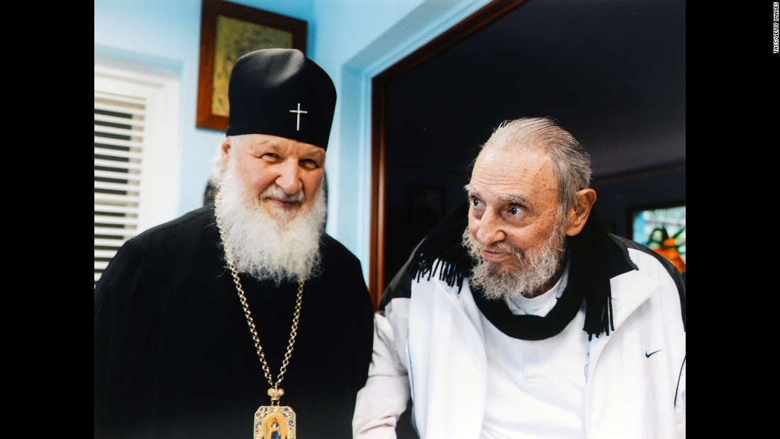 Leader of the Russian Orthodox Church, Patriarch Kirill, left, visits with Fidel Castro during a meeting at Castro's home on February 14, 2016.