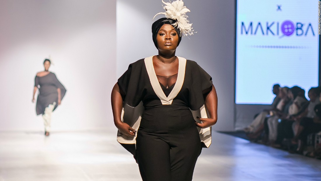 "All the designers Ngwube chose for her collective were first timers on the runway. ""For them to be making their first outings on such a platform was beyond belief,"" she says.<br />Pictured: A model wears a creation by designer Makioba Olugbile."