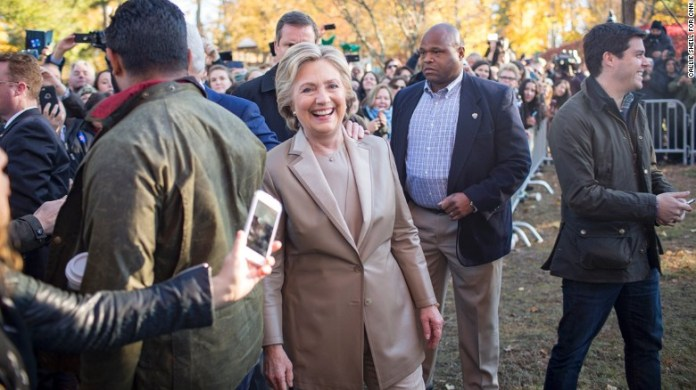 Democratic presidential nominee Hillary Clinton voted in Chappaqua, New York, on Election Day, Tuesday, November 8. Afterward, she and her husband, former U.S. President Bill Clinton, visited with locals outside the voting area.