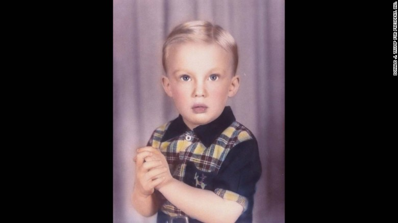 Trump at age 4. He was born in 1946 to Fred and Mary Trump in New York City. His father was a real estate developer.