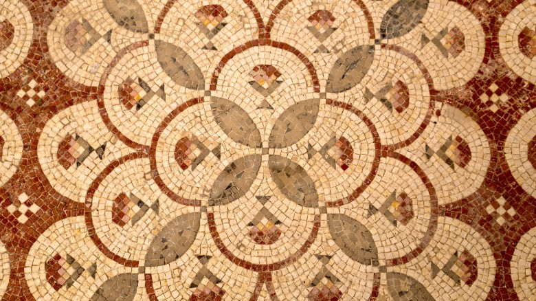 The mosaic boasts a number of different designs -- such as this geometric pattern.
