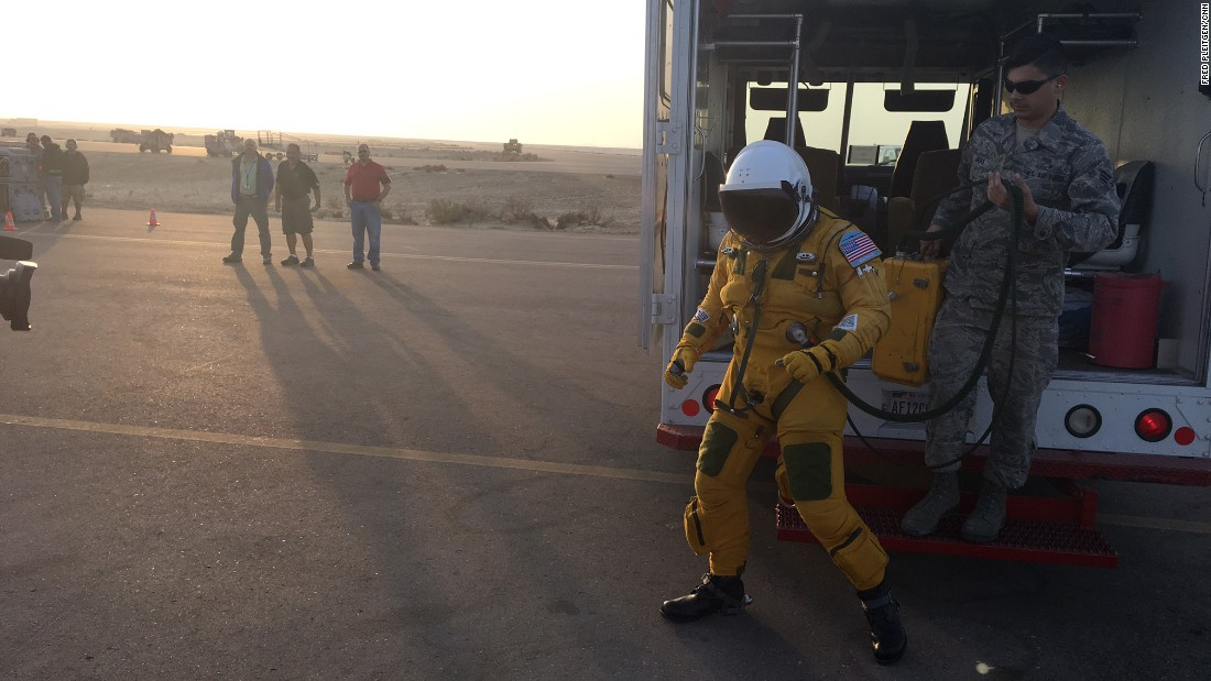 The compression suits are cooled to keep the pilots from suffering heat exhaustion.