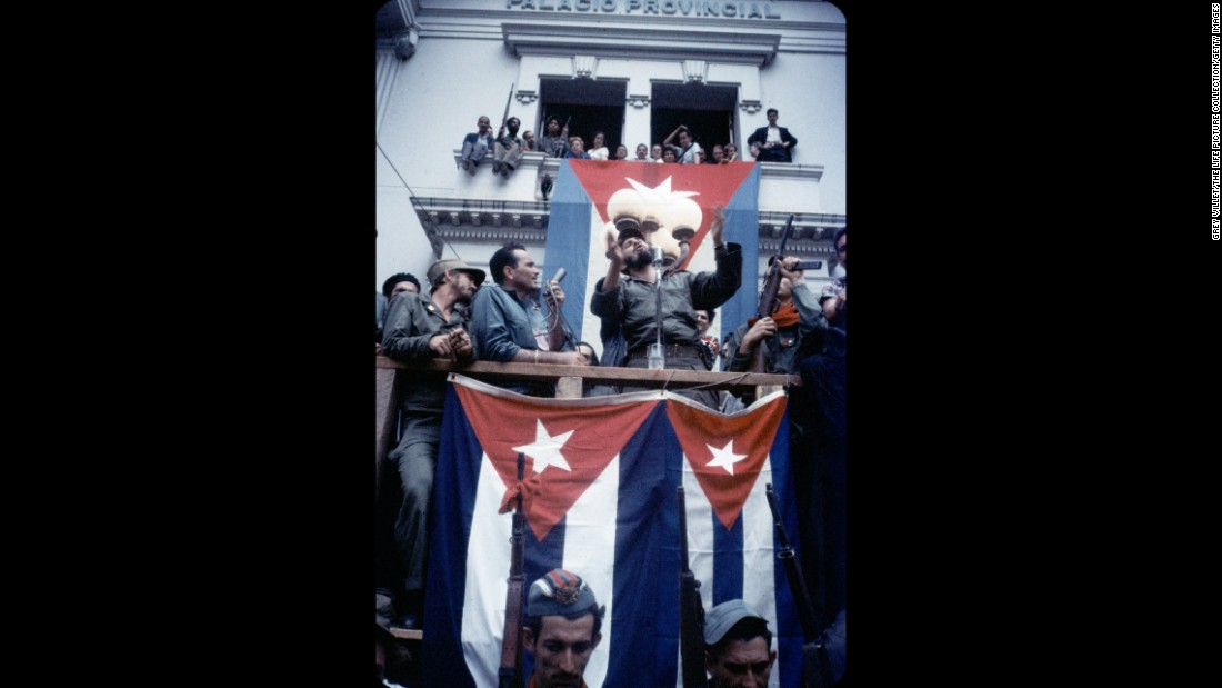 Castro addresses the people of Santa Clara in the town square in 1959. A battle in the city proved to be key in the revolutionaries' ouster of Batista.