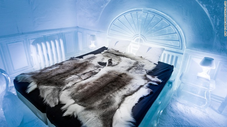 Sweden's ICEHOTEL, which has been built and rebuilt every year since 1989, is now open year-round. The Victorian Apartment (pictured) is designed by Luca Roncoroni.