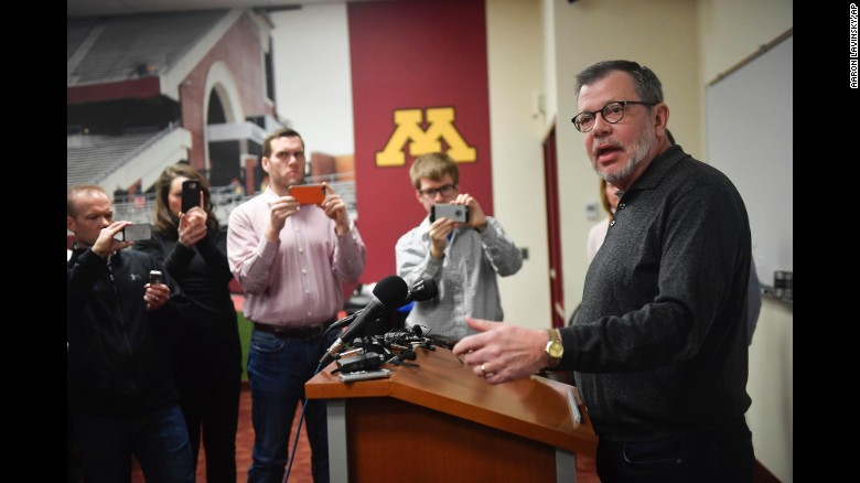 University of Minnesota President Eric Kaler speaks Saturday about the football team agreeing to prepare for the Holiday Bowl after a boycott over the suspension of 10 players.