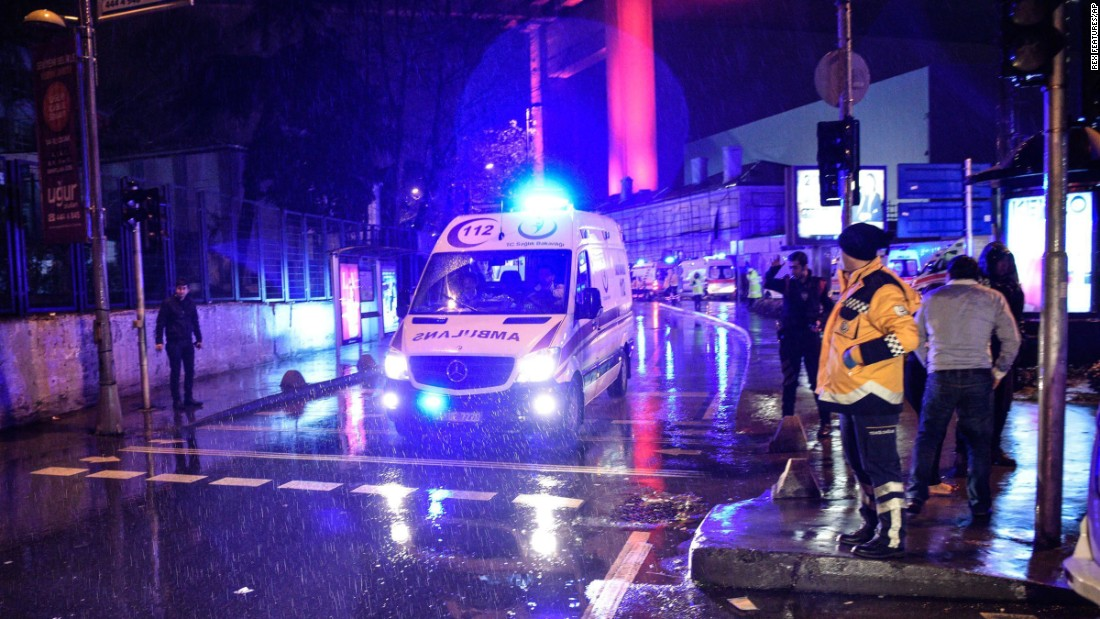An ambulance transports those wounded in the attack.