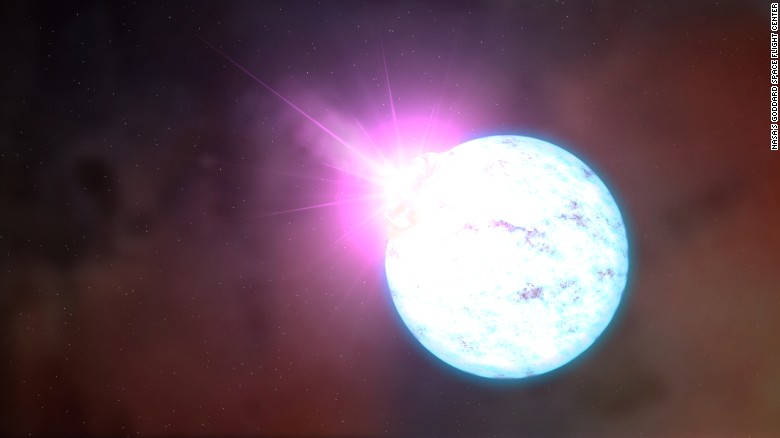 An artist's rendering of an outburst on an ultra-magnetic neutron star, also called a magnetar.