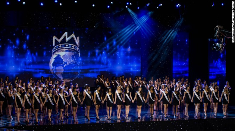 Contestants on stage during Miss World 2016 in Washington DC.