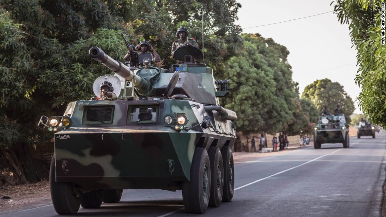 A convoy of Senegal soldiers en route towards the Gambia boarder on January 19.