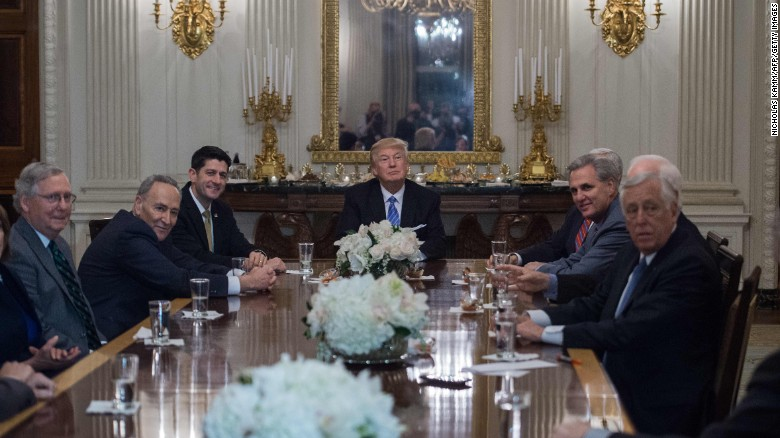 Trump smiles during a reception with congressional leaders