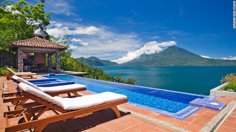 <strong>Volcano-gazing in Guatemala:</strong> Overlooking Lake Atilan's volcanoes and Mayan villages while soaking in Casa Palopo's infinity pool is one way to make this Valentine's Day memorable.