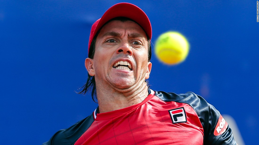 Carlos Berlocq eyes the ball during an Argentina Open match against Kei Nishikori on Saturday, February 18.