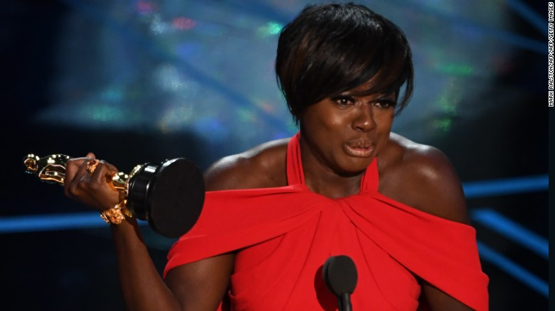 """Viola Davis after she won the award for best supporting actress in """"Fences."""""""