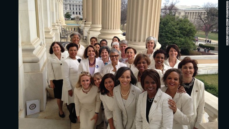 Image result for Democratic women wear white to Trump's address