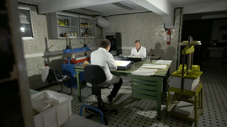 Workers in the new basement lab at al-Qarawiyyin.