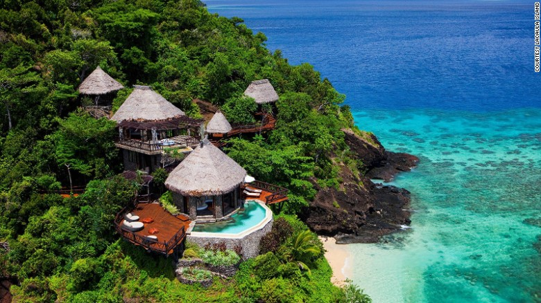 <strong>Lacaula Island (Fiji): </strong>Beautiful is an understatement for this 3,500-acre private island resort. Each of the 25 Fijian bure-inspired villas is equipped with tropical gardens and infinity pools.<strong> </strong>