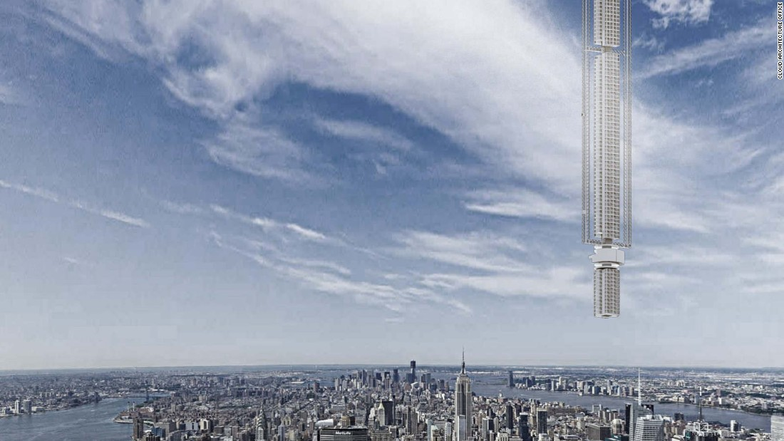 "Clouds Architecture Office has unveiled plans for a futuristic skyscraper dubbed the ""Analemma Tower."" The building would hover majestically above the ground because it would be attached -- wait for it -- to an actual asteroid, in space, that is forcibly put into orbit around the earth."