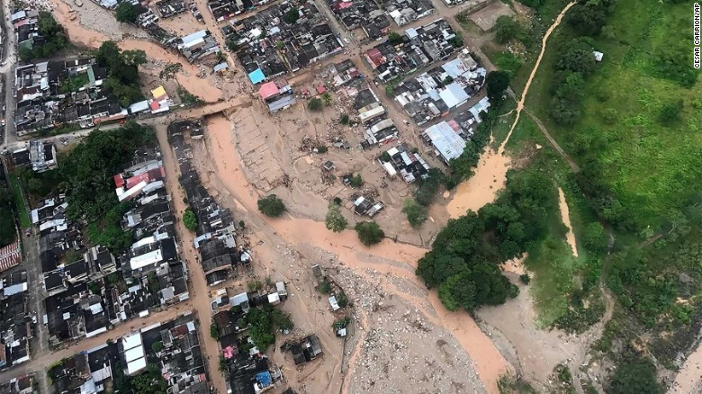 An aerial view shows the devastation in Mocoa in southwest Colombia.