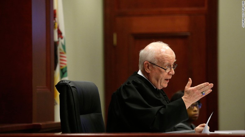 Judge William Brady talks during McCullough's certificate of innocence hearing.