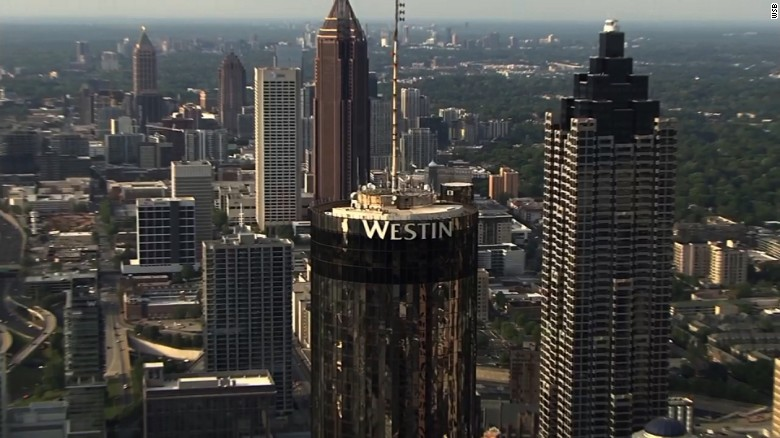 The Sun Dial rotating restaurant and bar sit atop the Westin Peachtree Plaza Hotel in downtown Atlanta.