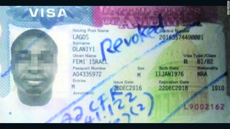 Femi Olaniyi's cancelled US visa.