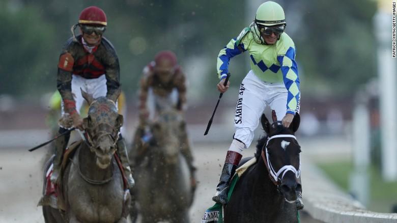 Jockey John Velazquez celebrates his terrific ride.