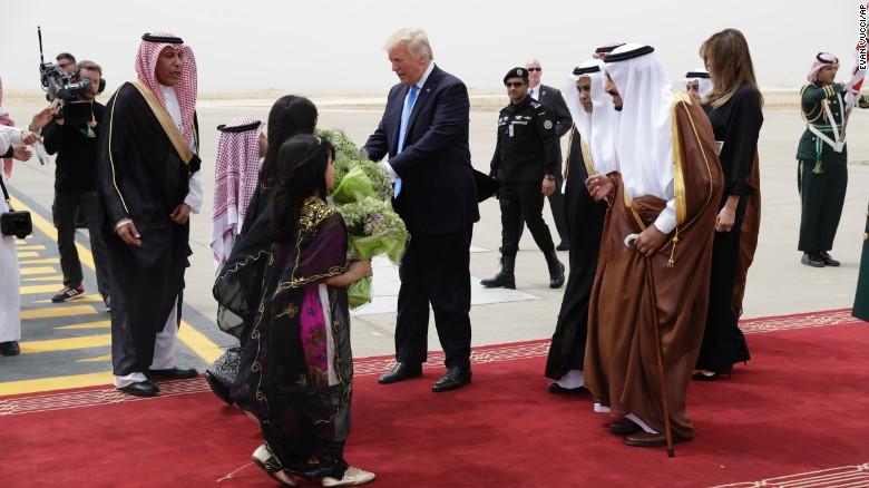 President Donald Trump and first lady Melania Trump arrive at the Royal Terminal of King Khalid International Airport, Saturday, May 20, 2017, in Riyadh.