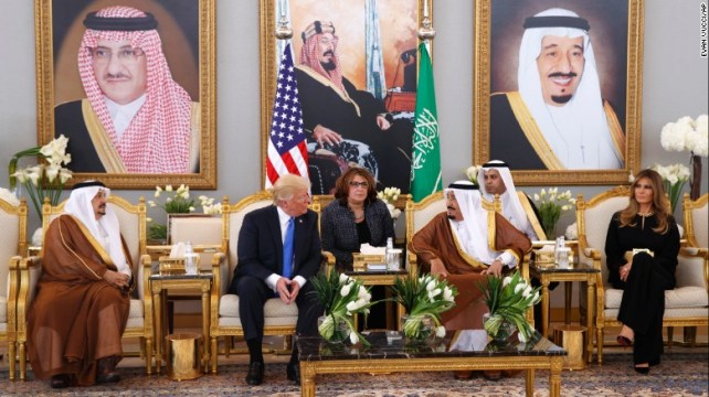 Trump meets with King Salman after the welcome ceremony at the airport's Royal Terminal.